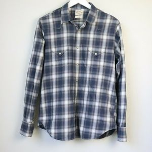 Lucky Brand Plaid Snap Down Long Sleeve Shirt